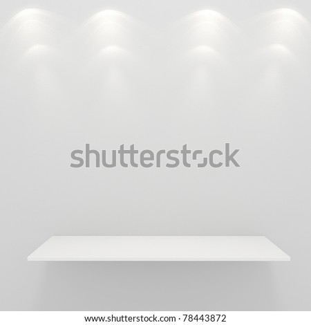3d render of an empty presentation shelf