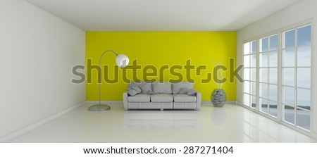 3D Render of an Empty Room and sofa  - stock photo
