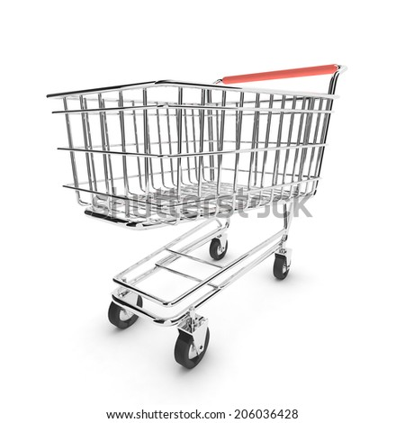3d render of an empty shopping trolley