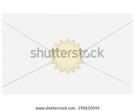 3d Render of an Envelope With a Gold Seal - stock photo