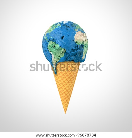 3D render of an ice cream cone with the World map pattern - stock photo