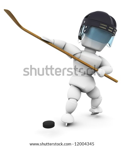 3D render of an ice hockey player