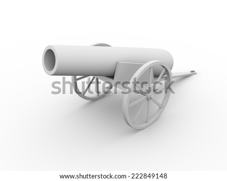 3d render of an old cannon in white. War concept - stock photo
