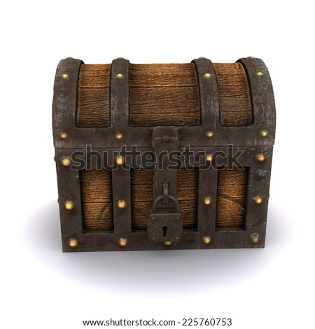 3d render of an old locked treasure chest