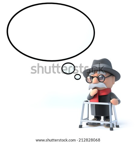 3d render of an old man with a thought bubble - stock photo