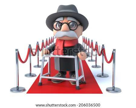 3d render of an old man with walking frame on the red carpet - stock photo