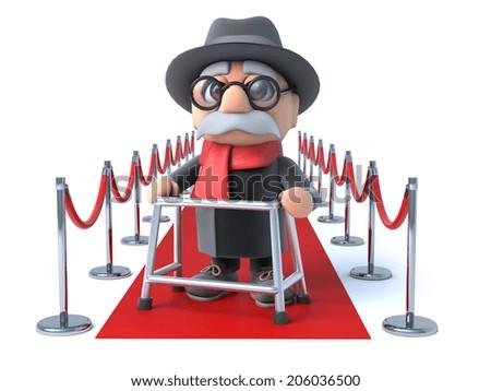 3 D Render Old Man Walking Frame Stock Illustration 206036500 ...