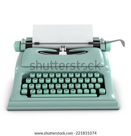 3d render of an old retro typewriter