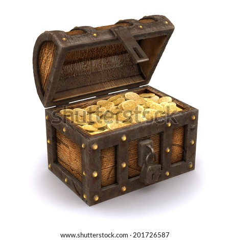 3d render of an open treasure chest full of gold