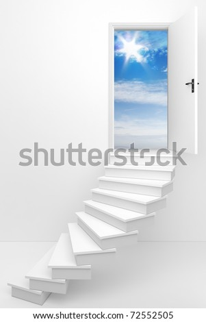 3d render of an opened door to a dream day / Follow your dream - stock photo