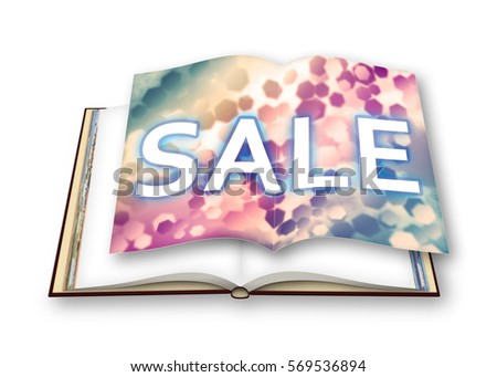 3D render of an opened photobook with colored sale concept