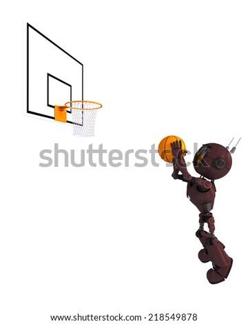 3D Render of an robot Basketball Player - stock photo