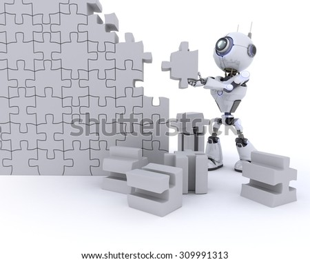 3D Render of an Robot with Jigsaw puzzle