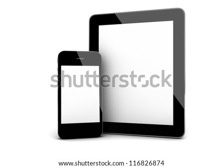 3d render of an smart phone and a tablet - stock photo