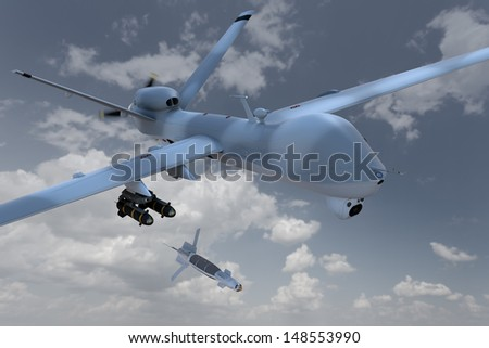 3d render of an unmanned aerial vehicle, or drone, dropping a laser guided bomb against a cloudy sky. - stock photo