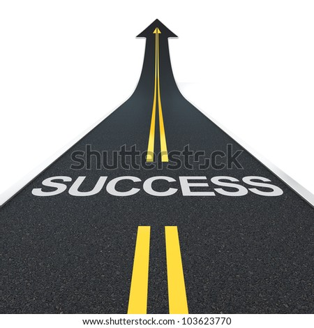 3D render of arrow road with success letters - stock photo