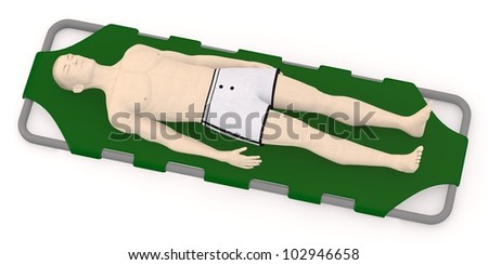 3d render of artifical character on stretcher