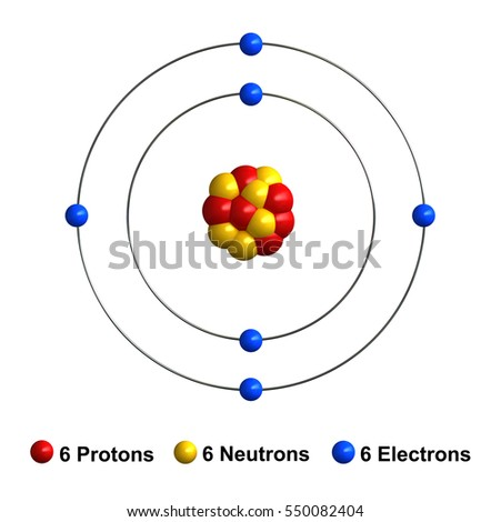 3d render of atom structure of carbon isolated over white background