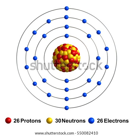 3d render of atom structure of iron isolated over white background