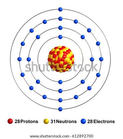 3 d render atom structure nickel isolated stock illustration 3d render of atom structure of nickel isolated over white background protons are represented as red ccuart Image collections
