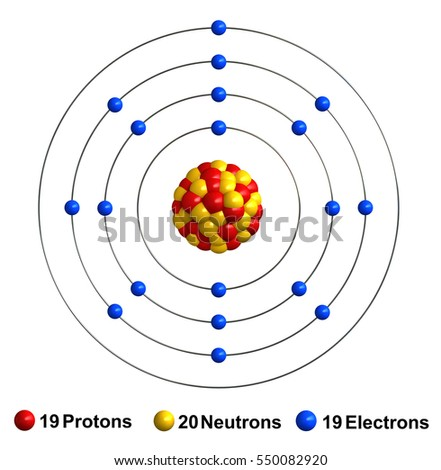 3 d render atom structure potassium isolated stock illustration 3d render of atom structure of potassium isolated over white background protons are represented as red ccuart Image collections