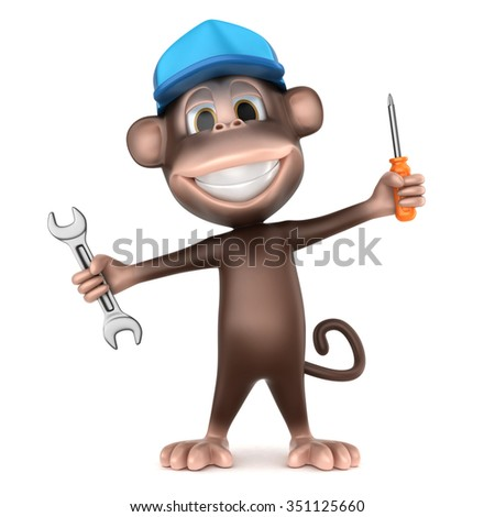 3d render of auto mechanic monkey with wrench and a screwdriver - stock photo