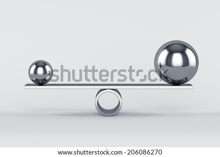 3d render of balanced chrome spheres. Concept of balance  - stock photo