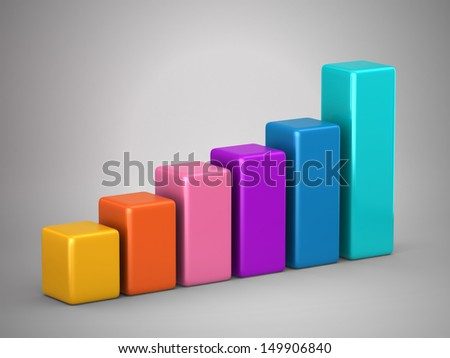3d render of bar graph growing up - stock photo