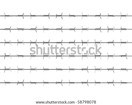 3d render of barbed wire on white background