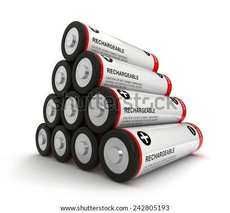 3d render of batteries over white background