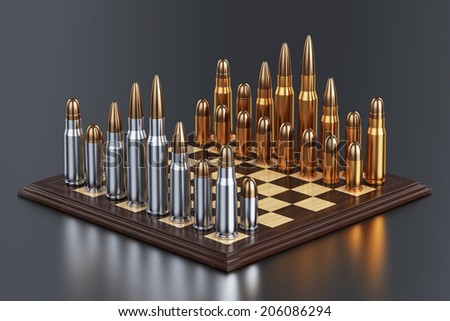 3d render of battle field with bullets on chess table on background with reflection  - stock photo