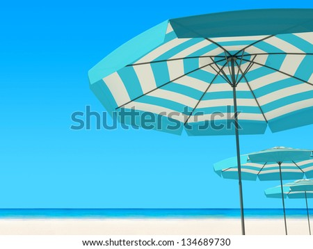 3d render of Beach umbrella on a sunny day, sea in background - stock photo