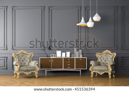 3d render of beautiful clean interior - stock photo