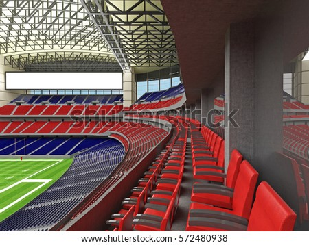 3D render of beautiful modern American football super bowl lookalike stadium whit red and blue chairs and closed roof