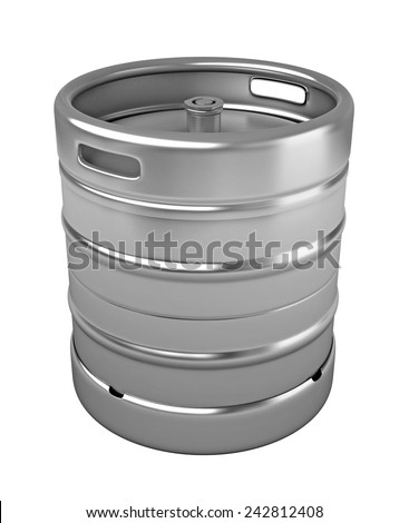 3d render of beer keg isolated over white background - stock photo