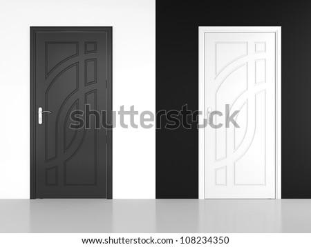 3D render of black and white door - contrast. - stock photo