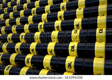 3d render of black oil barrels wall - stock photo