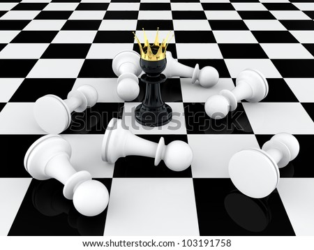 3D render of black pawn with golden crown defeating enemy - stock photo
