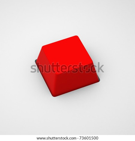 3d render of blank red keyboard button