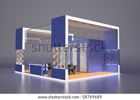3d render of blue exhibition stand
