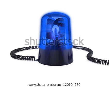 3d render of blue flashing light on a white background - stock photo