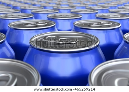 3D render of blue soda cans