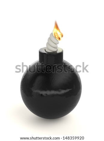 3d render of bomb isolated on white background - stock photo