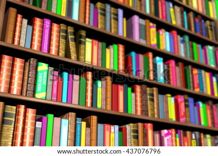 3 D Render Bookcase Full Different Colorful Stock Illustration ...