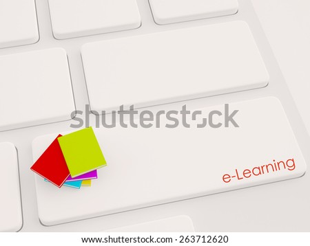 3d render of books on the computer keyboard. Education concept