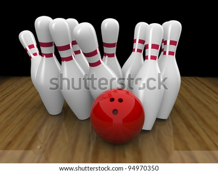 3d render of Bowling ball crashing into the pins - stock photo