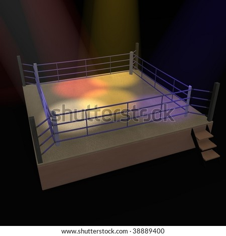 3d render of boxing ring - stock photo