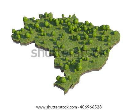 3d render of brazil map section cut isolated on white with clipping path - stock photo