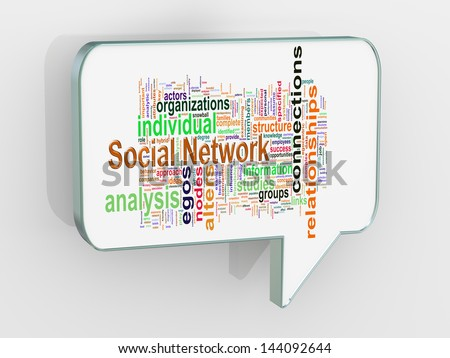 3d render of bubble speech with social network wordcloud word tags - stock photo