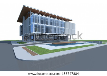 3D render of building - stock photo